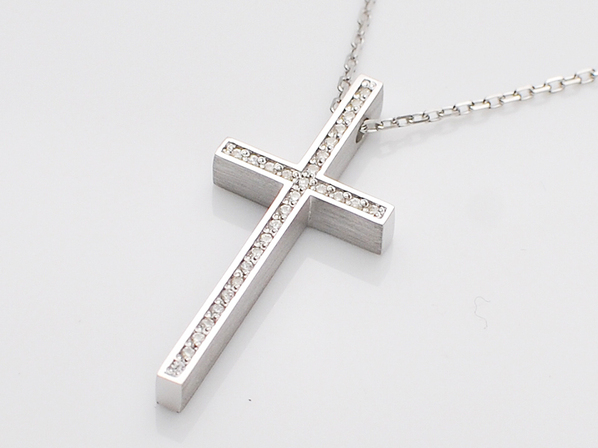.TWO ME CROSS NECKLACE/SV+CZ.