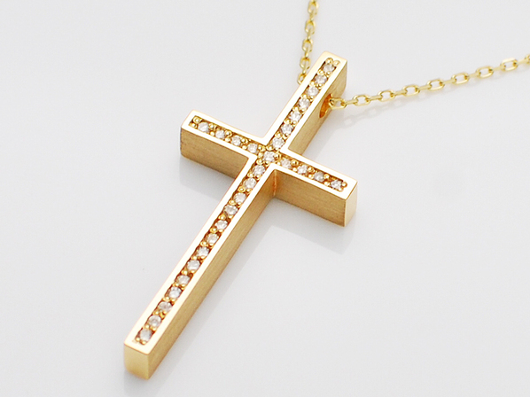 .TWO ME CROSS NECKLACE/YG+DIA.