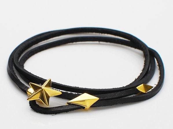 .ONE STAR&LEATHER BRACELET/GOLD.