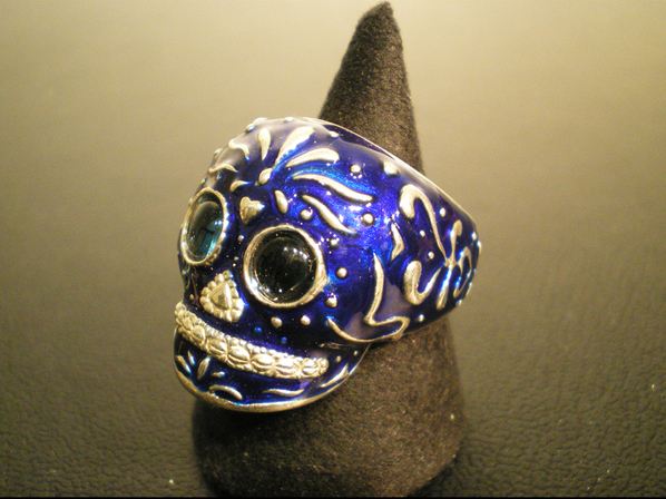 TRIBE SKULL RING/BLUE