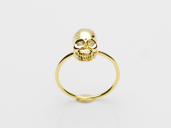 K18Yellow G Skull Pinky Ring(Diamond)