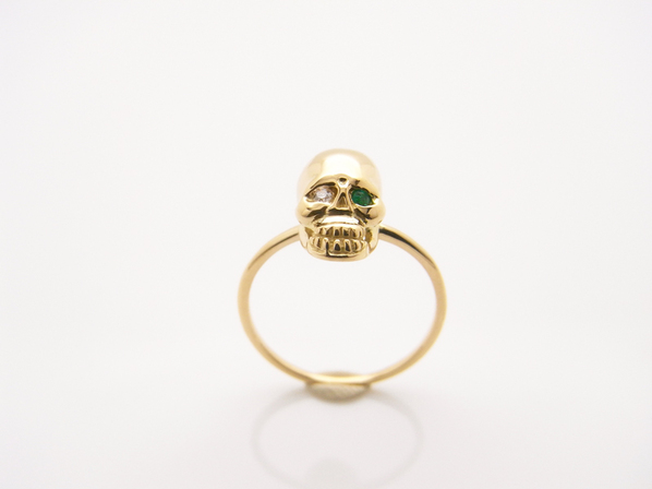 K18Yellow G Skull Pinky Ring(Diamond+Birthstone)