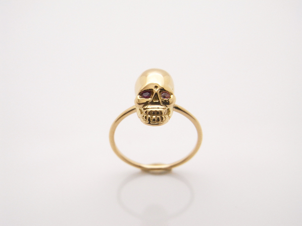 K18Yellow G Skull Pinky Ring(Birthstone+Birthstone)