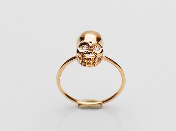 K18Pink G Skull Pinky Ring(Diamond)