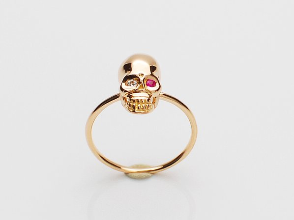 K18Pink G Skull Pinky Ring(Diamond+Birthstone)