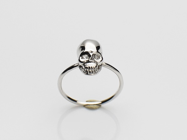 K18White G Skull Pinky Ring(Diamond)