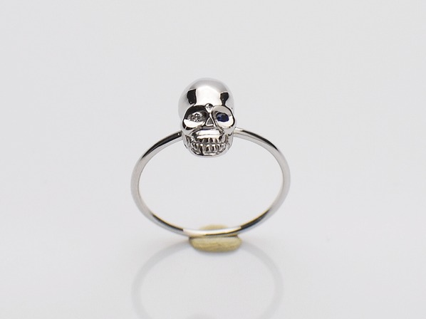 K18White G Skull Pinky Ring(Diamond+Birthstone)