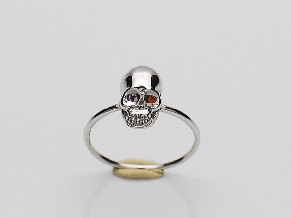 K18White G Skull Pinky Ring(Birthstone+Birthstone)