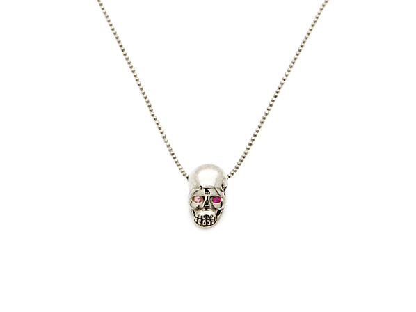 K18White G Skull Necklace(Birthstone+Birthstone)