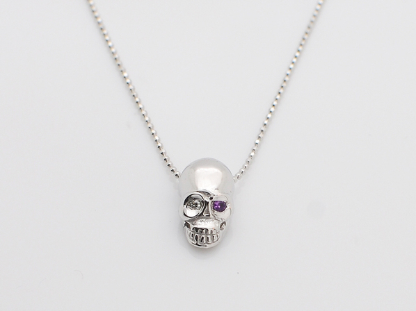 K18White G Skull Necklace(Diamond+Birthstone)
