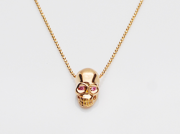 K18PINK G Skull Necklace(Birthstone+Birthstone)