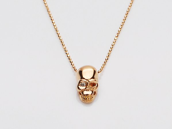 K18PINK G Skull Necklace(Diamond+Birthstone)