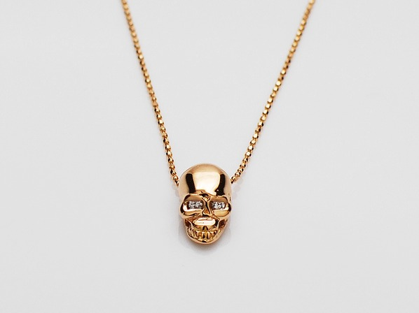 K18PINK G Skull Necklace(Diamond)