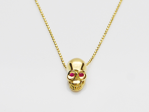 K18Yellow G Skull Necklace(Birthstone+Birthstone)