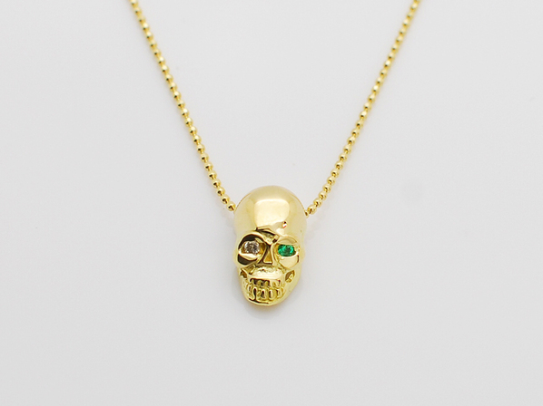 K18Yellow G Skull Necklace(Diamond+Birthstone)