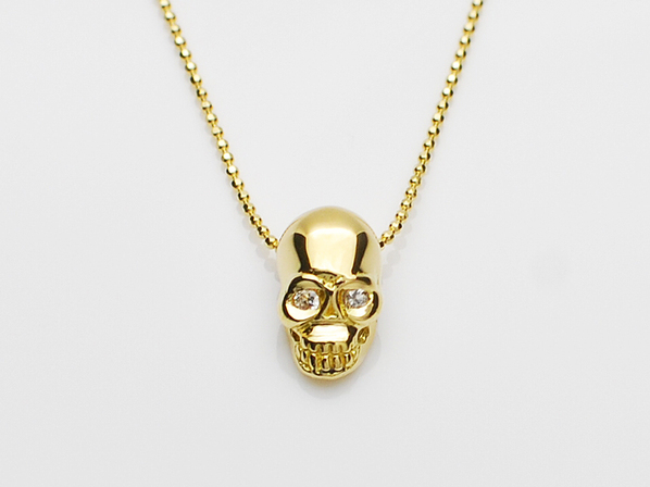 K18Yellow G Skull Necklace(Diamond)