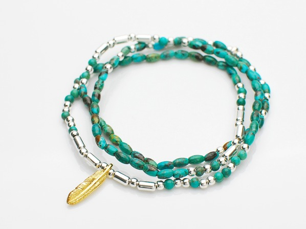.Turquoise & Silver Beads With Small Feather.