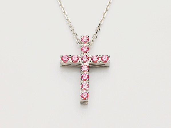 P.O.P CROSS NECKLACE (L) /PINK