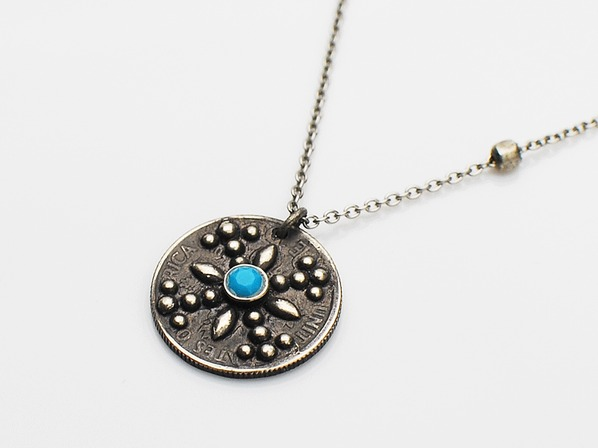 X Studs Coin Necklace