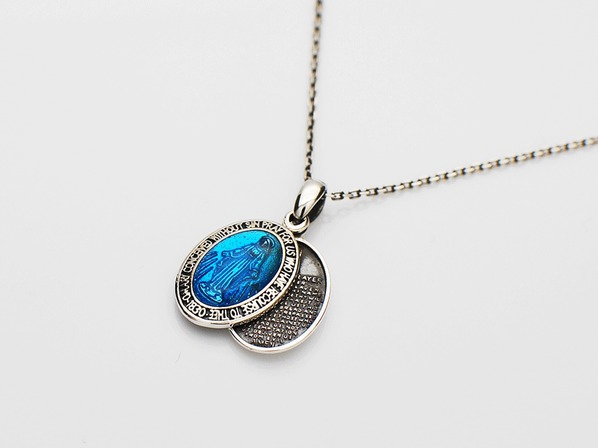 Small Mary Necklace-Blue Epoxy-