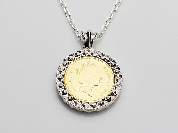 Diamond Cut Coin Necklace-Silver-