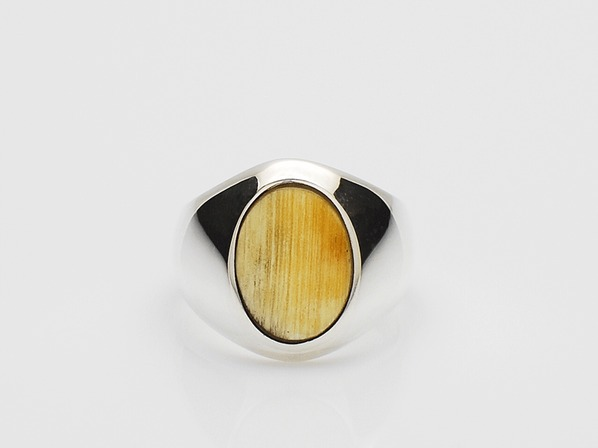 Buffalo Horn Signet Ring/Natural Mix