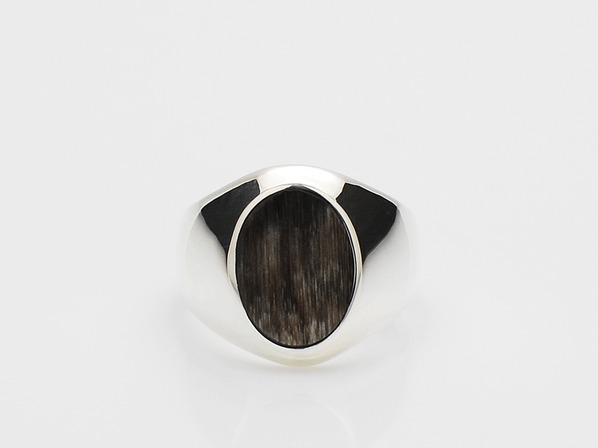 Buffalo Horn Signet Ring/D.Brown Mix
