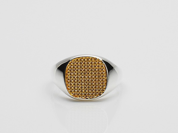 Pyramid Studs Square Signet Ring