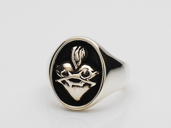 TINY SACRED HEART RING