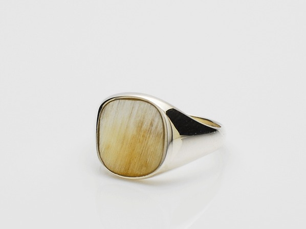 Buffalo Horn Square Signet Ring/Natural Mix