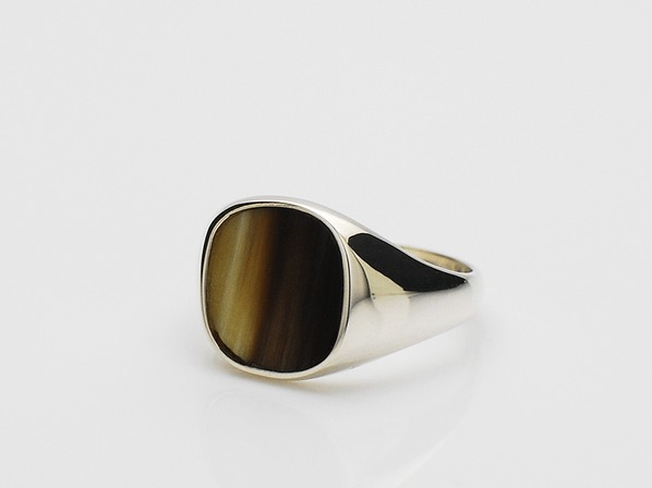 Buffalo Horn Square Signet Ring/D.Brown Mix