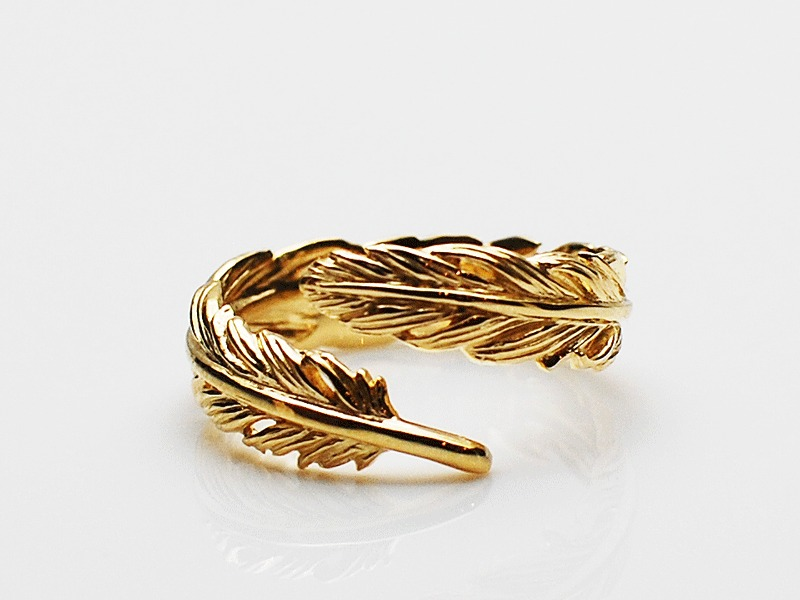 NATURAL FEATHER RING/K18YG
