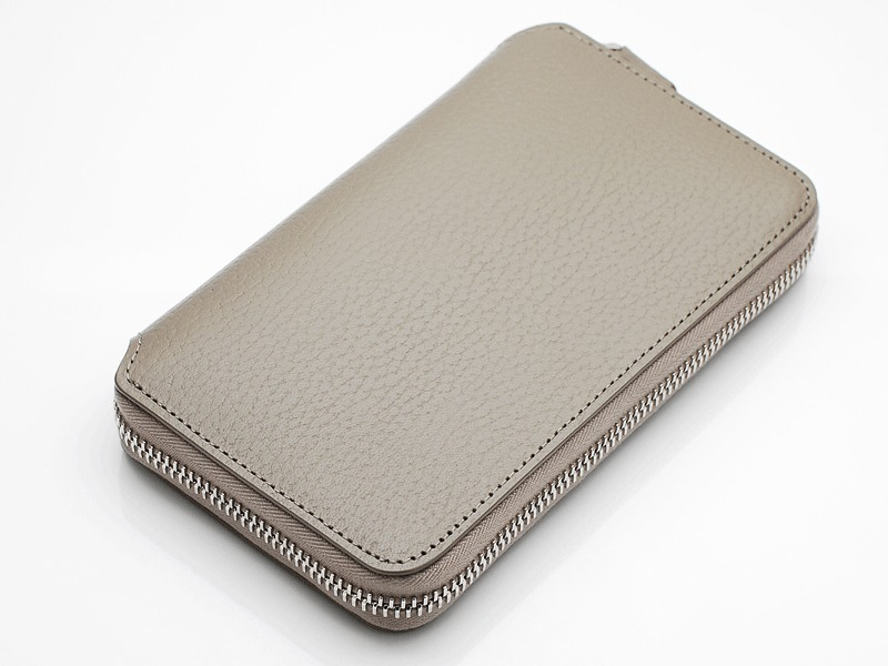 MIDDLE ZIP WALLET/TAUPE