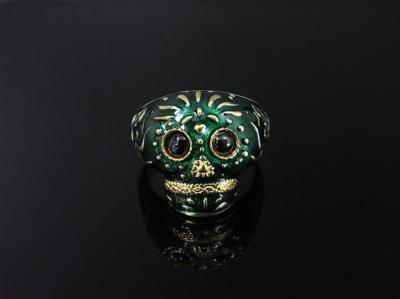 BABY TRIBE SKULL RING/GREEN