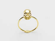 .K18Yellow G Skull Pinky Ring(Diamond).