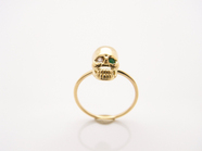 .K18Yellow G Skull Pinky Ring(Diamond+Birthstone).