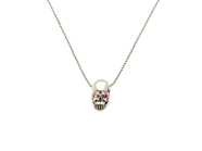 .K18White G Skull Necklace(Birthstone+Birthstone).
