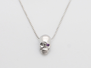 .K18White G Skull Necklace(Diamond+Birthstone).