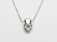 .K18White G Skull Necklace(Diamond).