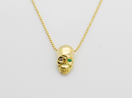 .K18Yellow G Skull Necklace(Diamond+Birthstone).