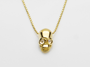 .K18Yellow G Skull Necklace(Diamond).