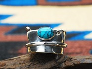 .WING FEATHER RING(L) with TURQUOISE.