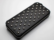 .LONG ZIP WALLET/CIRCLE STUDS.